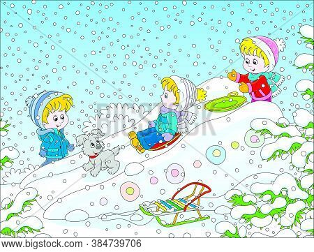 Children Playing On An Ice Slide On A Snow-covered Playground In A Winter Park, Vector Cartoon Illus