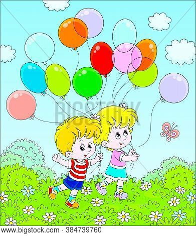 Children Walking With Colorful Balloons In A Park On A Sunny Summer Day, Vector Cartoon Illustration