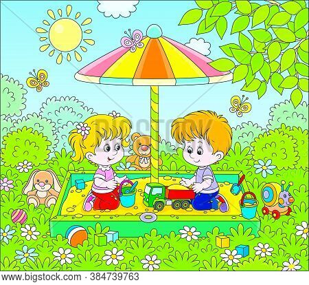 Small Children Playing In A Sandbox On A Playground In A Park On A Sunny Summer Day, Vector Cartoon