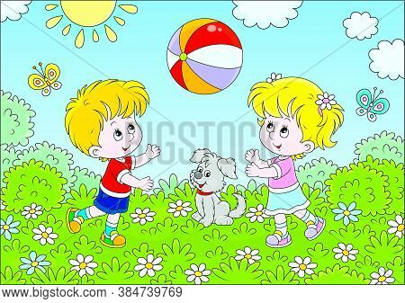 Little Children Playing A Big Colorful Ball On A Playground In A Summer Park, Vector Cartoon Illustr