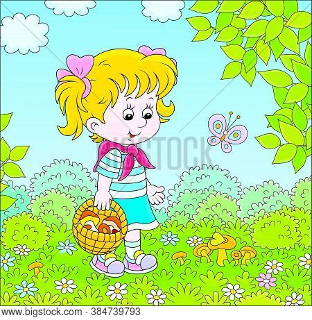 Girl Walking With A Basket And Gathering Mushrooms On A Green Forest Glade On A Summer Day, Vector C
