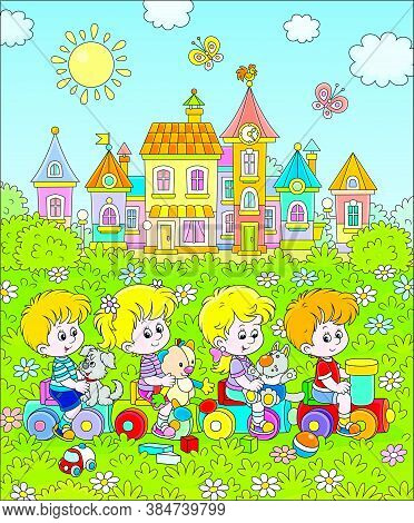 Small Children Playing On A Toy Train On A Playground In A Park Of A Town, Vector Cartoon Illustrati