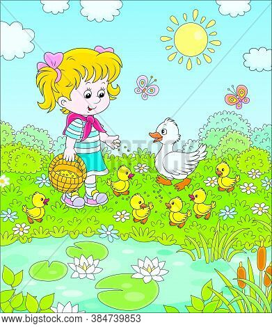 Little Girl Feeding A White Duck And Small Yellow Ducklings Among Flowers By A Pond With Water-lilie