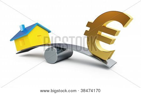 Scales Money Euro Or A House