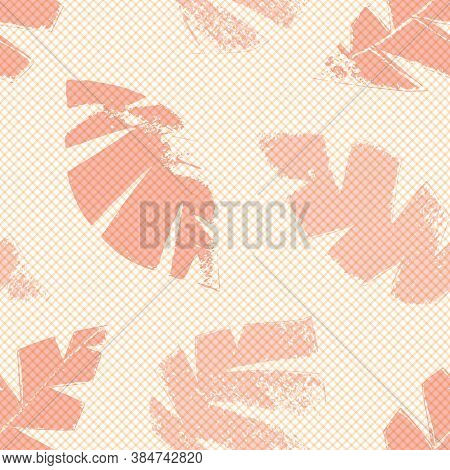 Mono Print Style Scattered Leaves Seamless Vector Pattern Background. Textured Cut Out Foliage In Sh