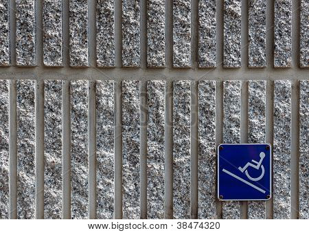 Ramp Access Sign On Concrete Wall Background