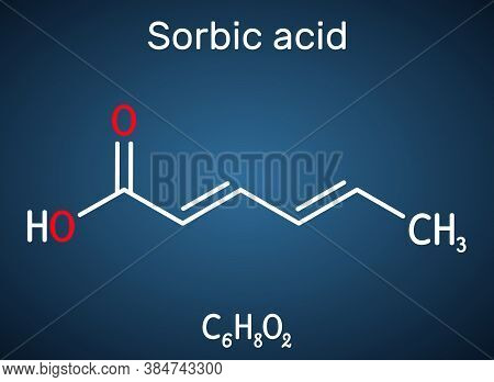 Sorbic Acid, 2, 4-hexadienoic Acid, E200 Molecule. It Is Hexadienoic And Polyunsaturated Fatty Acid.