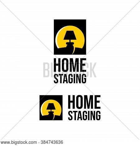 Home Staging Logo Cabinet Lamp Light. Property Care Vector Template Real Estate Business Idea