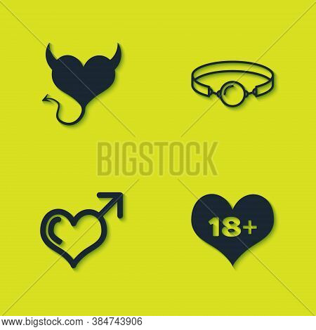 Set Devil Heart With Horns, 18 Plus Content, Male Gender And And Silicone Ball Gag Icon. Vector