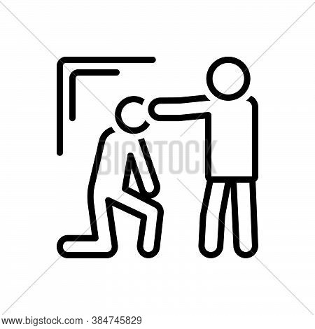 Black Line Icon For Convince Persuade Satisfy Assure Explain Decode Brainwash Exhort Expostulate Ann