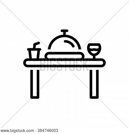 Black Line Icon For Dinner Edible Table Banquet Party Restaurant Catering Eatery Food