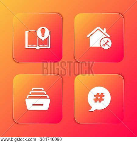 Set Interesting Facts, House Service, Drawer With Documents And Hashtag Speech Bubble Icon. Vector