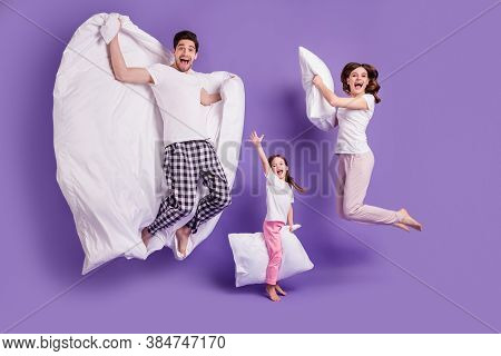 Full Length Body Size View Of Cheerful Glad Carefree Funny Family Small Little Daughter Jumping Havi