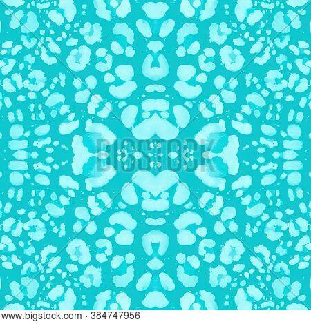Watercolour Jaguar Skin. Graphic Tiger Fur. Camouflage Tropical Ornament. Seamless Textile Design. B