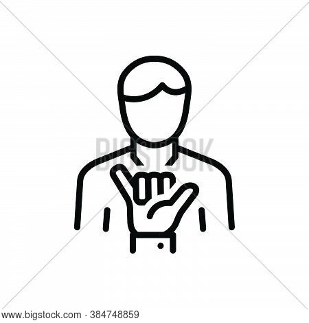 Black Line Icon For Loose Shaka Lax Not-secure Relaxed Gesture Hand People