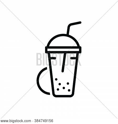 Black Line Icon For Shake  Beverage Milk Blended Protein Cocktail Shake Glass Container Drink Editab