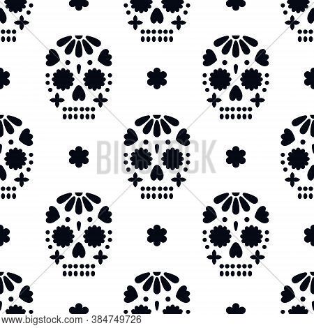 Seamless Pattern With Decorative Skulls. Dia De Los Muertos - Mexican Holiday. Vector Backdrop For D