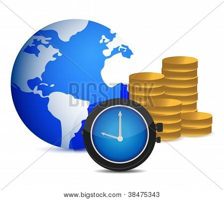 Globe Watch And Coins