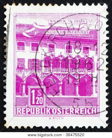 Postage stamp Austria 1962 Kornmesser House, Bruck on the Mur