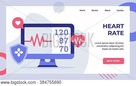Heart Rate Beat Monitor Electrocardiogram Campaign For Web Website Home Homepage Landing Page Templa