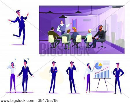 Set Of Business People At Work. Flat Vector Illustrations Of Employees Talking On Phone, Making Pres
