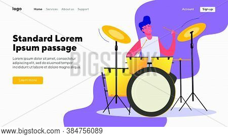 Man Playing Drums. Musician, Concert, Musical Instrument Flat Vector Illustration. Music, Entertainm