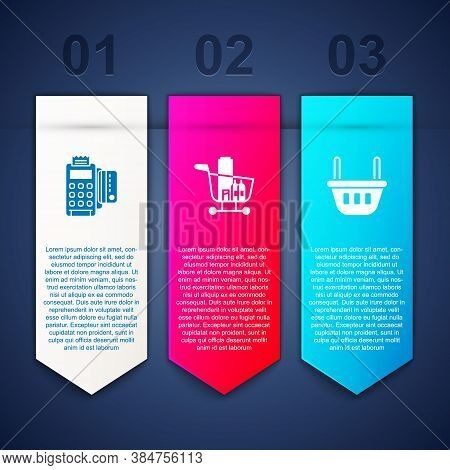 Set Pos Terminal With Credit Card, Shopping Cart And Food And Basket. Business Infographic Template.