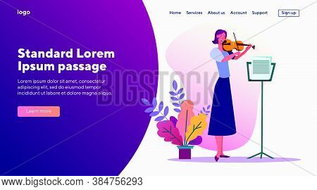 Woman Playing Violin. Musician, Performer, Musical Instrument. Flat Vector Illustrations. Concert, C