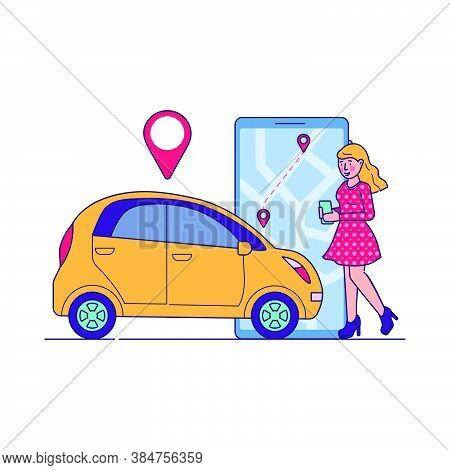Female Driver Using Car Sharing Service. Woman Searching Taxi Or Transport For Rent With Map Locatio