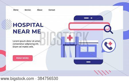 Hospital Near Me Magnifier On Smartphone Screen Campaign For Web Website Home Homepage Landing Page