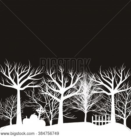 Illustration Of A Dark Night Halloween Background With Pumpkies And And Graves