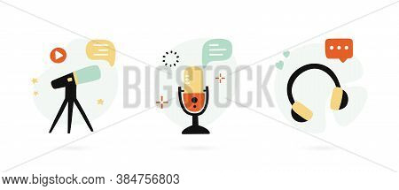 Set Of Hand Drawn Icons For Podcasting. Social Media Template. Podcast Emblem. Vector Illustration.