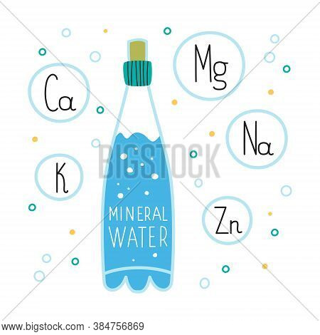 A Bottle Of Mineral Water On The Background Of Bubbles And Chemical Elements. The Concept Of Drinkin