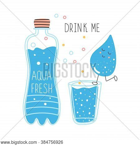 A Bottle Of Drinking Water And A Glass Of Clean Water. Cartoon Concept Of Drinking More Water. Use O