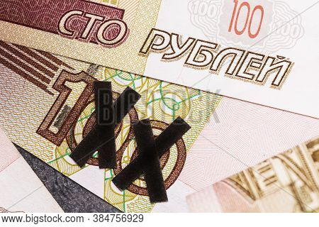 2 Zeros Are Crossed Out On One Hundred Ruble Bill. Concept On The Topic Of Devaluation Of The Russia