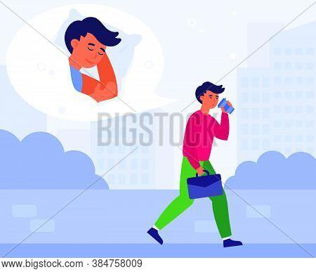 Caffeine Addict, Insomnia, Sleeping Man, Office Work Exhaustion Concept. Sleepy Employee Walking Out