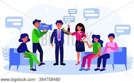 News Reporters Interviewing Businessman Or Politician. Talk Show, Journalist, Cameraman Flat Vector