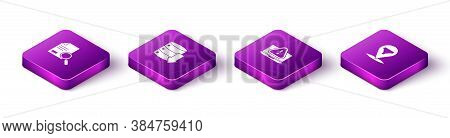 Set Isometric Document With Search, Server, Data, Web Hosting, Laptop Exclamation Mark And Location