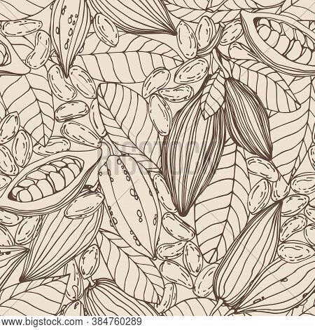 Seamless Pattern Of A Set Of Elements Of Cocoa Tree, Seeds, Leaves, Fruit, For Ornament, Menu Decora