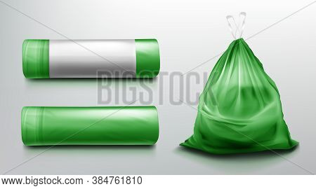 Trash Bag Mockup, Plastic Roll And Sack Full Of Garbage. Green Disposable Package For Rubbish Mock U
