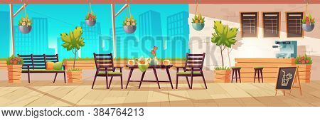 Summer Terrace, Outdoor City Cafe, Coffeehouse With Wooden Table, Chairs And Potted Plants, Chalkboa