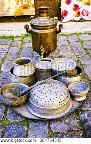 Oriental, Turkish, Azerbaijani Antique Carved Iron Tableware, Antiques, Samovar For Sale