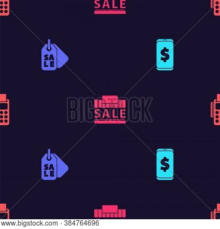 Set Smartphone With Dollar, Price Tag Sale, Shopping Building And Sale And Pos Terminal Credit Card
