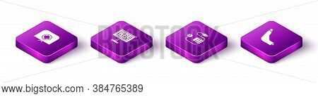 Set Isometric Nurse Hat With Cross, Eye Test Chart, Blood Pressure And Inhaler Icon. Vector