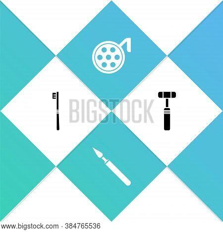 Set Toothbrush, Medical Surgery Scalpel, Surgery Lamp And Neurology Reflex Hammer Icon. Vector