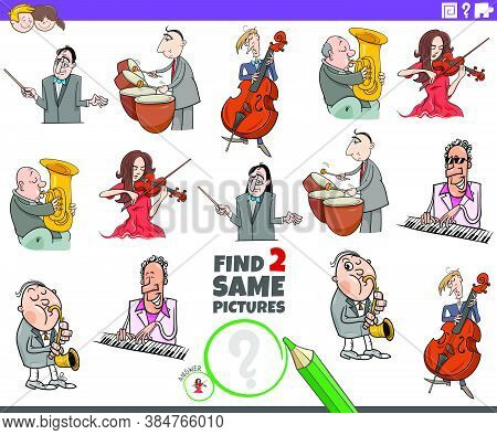 Cartoon Illustration Of Finding Two Same Pictures Educational Task For Children With Musicians Chara