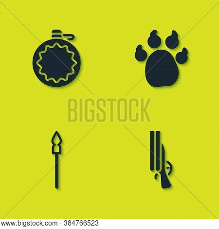 Set Canteen Water Bottle, Shotgun, Medieval Spear And Paw Print Icon. Vector