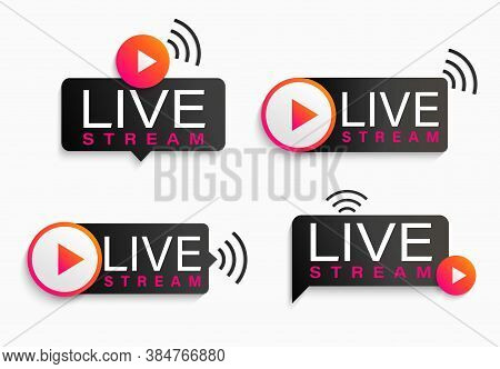 Set Live Stream Logos, Symbols, Icons With Play Button. Emblems For Broadcasting, Online Tv, Sport,