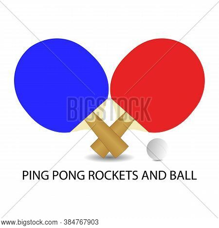 Realistic Icon Of Two Ping Pong Rackets And Ball. Vector Illustration Eps 10