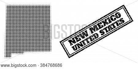Halftone Map Of New Mexico State, And Textured Seal. Halftone Map Of New Mexico State Made With Smal